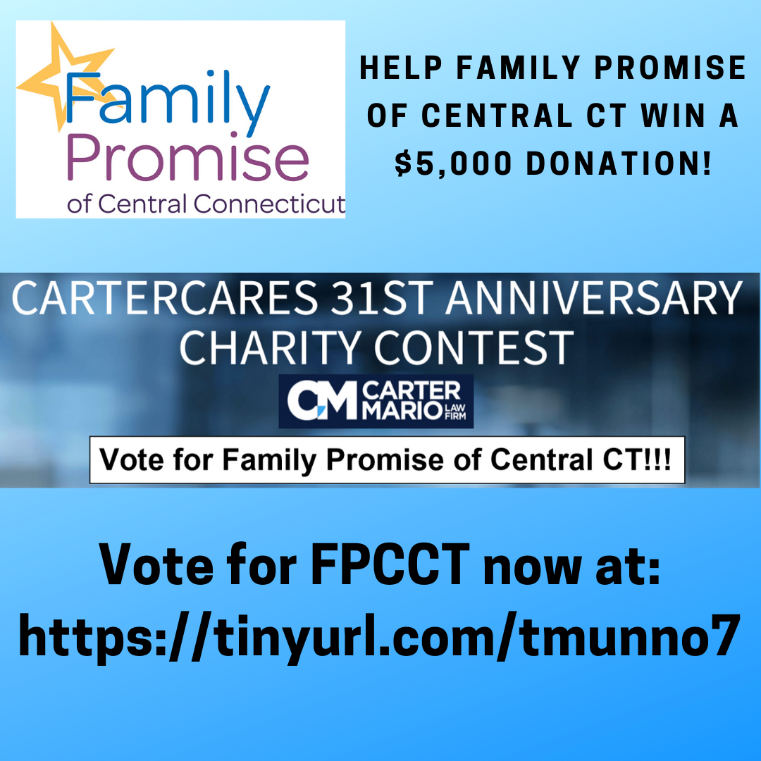 Help Family Promise of Central CT win a $5,000 donation!